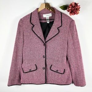 [SAG HARBOR] VTG Pink Tweed Suit Jacket Blazer